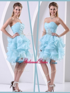 2016 Pretty Mini Length Sweetheart Amazing Bridesmaid Dresses with Beading and Ruffles