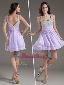 2016 Simple Straps Mini Length Lavender Bridesmaid Dresses with Beading