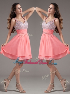 Discount Straps Beading Short Watermelon Perfect Bridesmaid Dresses