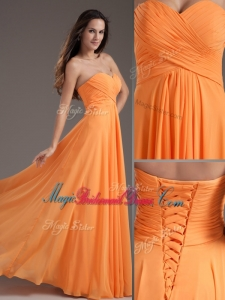 Low Price Sweetheart Floor Length Ruching Perfect Bridesmaid Dresses in Orange