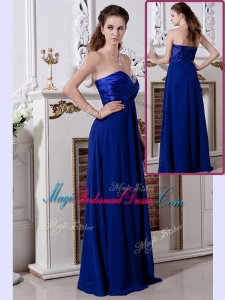 Luxurious Empire Sweetheart Long Perfect Bridesmaid Dresses in Royal Blue