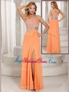 Luxurious One Shoulder Beading Perfect Bridesmaid Dresses with Side Zipper