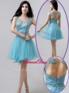 New Arrivals Short Open Back Beading Perfect Bridesmaid Dresses in Aqua Blue