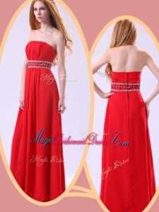 Simple Empire Strapless Red Perfect Bridesmaid Dresses with Beading