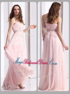 Simple Strapless Beading Long Gorgeous Bridesmaid Dresses in Baby Pink