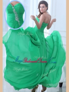 2016 Best Sweetheart High Low Green Popular Bridesmaid Dresses with Beading