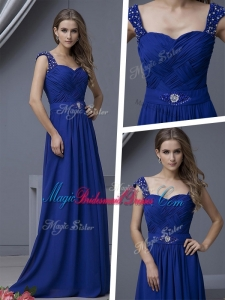 Elegant Straps Beading Popular Bridesmaid Dresses in Royal Blue