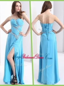 Fashionable Sweetheart Popular Bridesmaid Dresses with Beading and High Slit