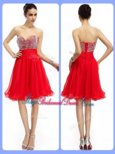 Lovely Short Sweetheart Beading Popular Bridesmaid Dresses in Red
