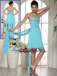 Perfect Sweetheart Beading and Paillette Aqua Blue Popular Bridesmaid Dresses