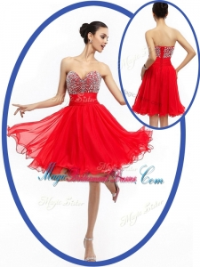 Perfect Sweetheart Red Short Popular Bridesmaid Dresses with Beading