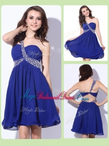 2016 Fashionable One Shoulder Criss Cross Pretty Bridesmaid Dresses with Beading