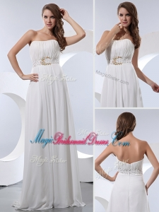 Discount Empire Strapless Beading Stunning Bridesmaid Dresses in White