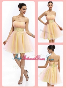 Lovely Short Strapless Lace Up Pretty Bridesmaid Dresses with Beading and Ruching