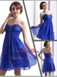 Perfect Sweetheart Beading Short Stunning Bridesmaid Dresses in Blue