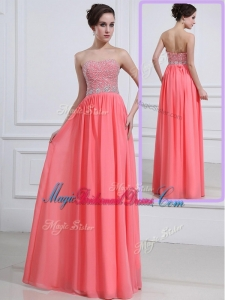 Beautiful Sweetheart Watermelon Trendy Bridesmaid Dresses with Beading