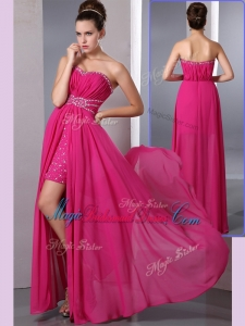 Cheap Empire Sweetheart Beading Trendy Bridesmaid Dresses with Side Zipper
