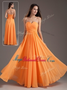 Inexpensive Sweetheart Ruching Orange Trendy Bridesmaid Dresses
