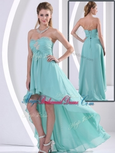 Low Price Sweetheart High Low Trendy Bridesmaid Dresses with Beading