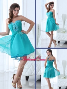 Pretty Short Sweetheart Beading Trendy Bridesmaid Dresses in Turquoise