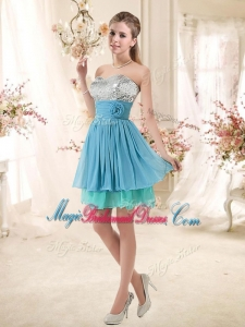 Discount Sweetheart Bridesmaid Dresses with Sequins and Hand Made Flowers