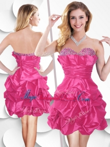 Fashionable Hot Pink Taffeta Bridesmaid Dress with Beading and Bubles