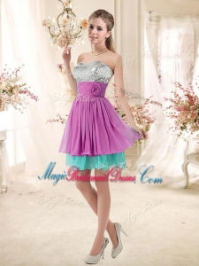 Inexpensive Sweetheart Sequins and Belt Bridesmaid Dresses in Multi Color