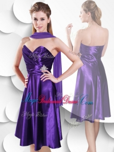 Perfect Empire Sweetheart Elastic Woven Satin Bridesmaid Dress with Beading and Ruching