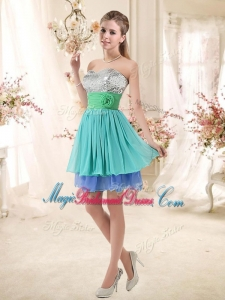 Sweet Short Multi Color Bridesmaid Dresses with Sequins and Hand Made Flowers