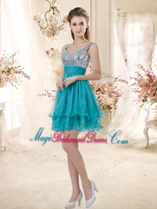 Top Selling Straps Short Sequins Bridesmaid Dresses in Teal