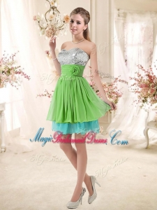 Affordable Sweetheart Short Bridesmaid Dresses with Sequins and Belt