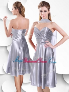 Best Empire Elastic Woven Satin Silver Bridesmaid Dress with Beading and Ruching