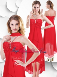 Best Spaghetti Straps High Low Red Bridesmaid Dress with Beading