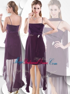 Latest Spaghetti Straps High Low Bridesmaid Dress in Burgundy