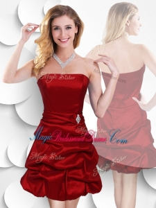 Latest Strapless Taffeta Wine Red Bridesmaid Dress with Bubles