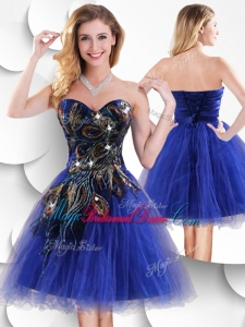 Luxurious Short Peacock Blue Bridesmaid Dress with Beading and Appliques
