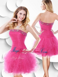 Luxurious Strapless Hot Pink Bridesmaid Dress with Beading and Ruffles