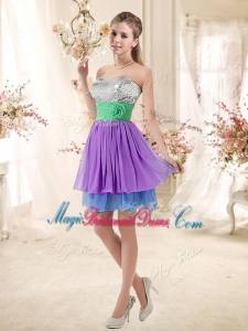 Most Popular Sweetheart Multi Color Short Bridesmaid Dresses with Sequins