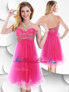 Pretty Sweetheart Hot Pink Short Bridesmaid Dress with Beading