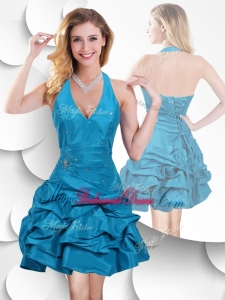 Romantic Halter Top Taffeta Teal Bridesmaid Dress with Bubles