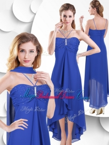 Simple Spaghetti Straps High Low Blue Bridesmaid Dress with Beading