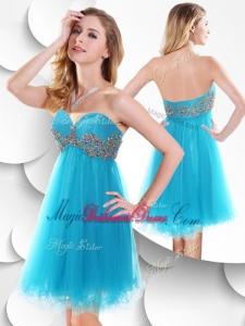 Sweet Short Baby Blue Bridesmaid Dress with Beading