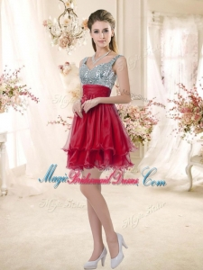 Wonderful Straps Sequins and Ruching Bridesmaid Dresses in Wine Red