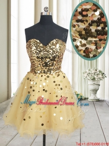 2017 Best Selling Sequined Bodice Zipper Up Organza Bridesmaid Dress in Champagne