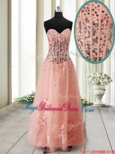 2017 Pretty Visible Boning See Through Applique and Beaded Long Bridesmaid Dress in Tulle