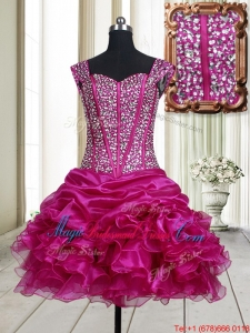 2017 Pretty Visible Boning Straps Beaded Bodice and Ruffled Bridesmaid Dress in Fuchsia