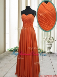 Best Selling Empire Ruched Chiffon Orange Red Bridesmaid Dress in Floor Length