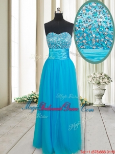 Gorgeous Empire Sweetheart Tulle Beaded Bust Bridesmaid Dress in Baby Blue