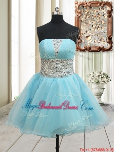 Lovely A Line Strapless Zipper Up Aqua Blue Bridesmaid Dress with Beading