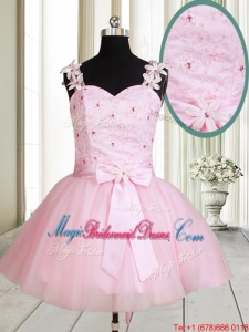 New Applique Decorated Straps Baby Pink Short Bridesmaid Dress with Beading and Bowknot